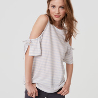 Striped Tie Cold Shoulder Tee | LOFT