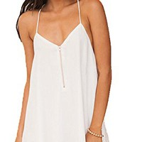 Women's Summer Backless Mini Hollow Slip A-line Ruffles Chiffon White Beach Dress