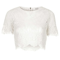 **Sheer Lace Crop Top by Glamorous - Tops - Clothing