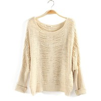 Scoop Neck Batwing Sleeve Casual Christmas Sweater For Women