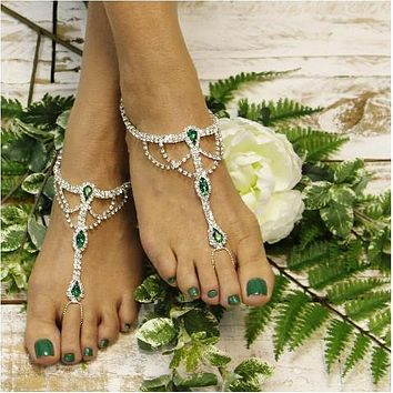 SOMETHING EMERALD   barefoot sandals - green