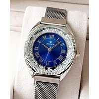 Rolex tide brand rhinestone female models magnetic quartz watch Blue