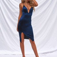 Getting Over You Satin Dress (Navy)