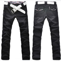 Mens Boys Check Grid Slim Fit  Skinny Pencil Long Straight Pants Trousers 4 Size