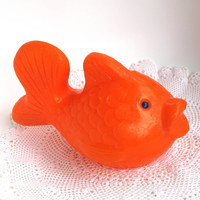 Adorable Soviet Big Fish Toy / Cute Orange Collectible Plastic Fish, Bath Toy / Russian Vintage Kitch Marine Toddler Toy/ Plastic toy/ USSR