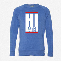hi hater_Rectangle fleece crewneck sweatshirt