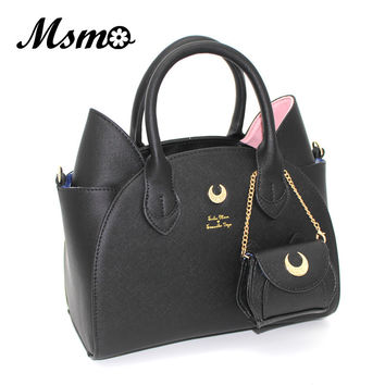 2017 Autumn and winter black/white sailor moon luna/artemis hand bag samantha vega handbag cat ear shoulder bag messenger bag