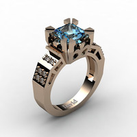 Modern Vintage 14K Rose Gold 2.0 Carat Princess Blue Topaz Diamond Solitaire Ring R1023-14KRGDBT