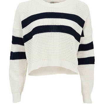 Cameo Rose Navy and White Stripe Crop Jumper