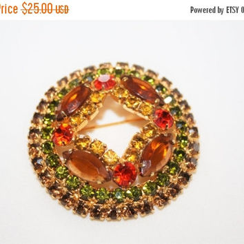 Spring Sale Vintage Rhinestone Brooch, Amber Orange Rhinestone Brooch, Costume Jewelry