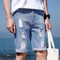 Men Knee Length Jeans Stretch Destroyed Ripped Design Fashion Ankle Zipper Skinny Jeans shorts men hip hop streetwear casual