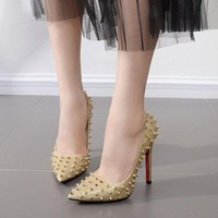 Rivets Pointed Toe High Heel Pump