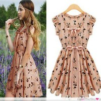Chic Street Fashion Womens Reindeer Print Casual Chiffon Dress S M L XL
