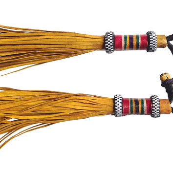 Yellow Leather Tribal Tassels, Pair
