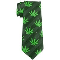 Pot Leaf In Your Face Green Stripes Pattern All Over Neck Tie