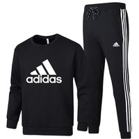 ADIDAS 2018 autumn and winter new sportswear casual men's two-piece suit black