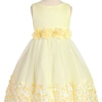 Girls Yellow Mesh Overlay Dress with Taffeta & Chiffon Flowers 2T-8