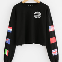 National Flag Print Raw Hem Sweatshirt -SheIn(Sheinside)