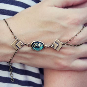slave bracelet aqua scarab and diamond connectors, ring bracelet, slave ring, unique bracelet, chevron bracelet, geomtric bracelet