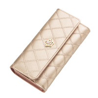 2016 Fashion High Capacity Women Wallets Lingge Gold Metal Crown Lady Long Day Clutch Wallet High Quality Purse For Women Gift