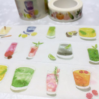 10M x 3cm summer drinks cocktail washi tape iced drink wide masking tape watercolor party drink planner cocktail drinks recipe icon decor