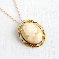 Vintage Cameo Necklace - Carved Shell Gold Tone Victorian Revival Pendant Jewelry / Rose & Yellow Tone