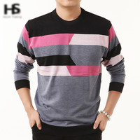 Striped Cashmere Autumn Jumper/Sweater in Pullover O-Neck Wool Sweater Clothing for Men