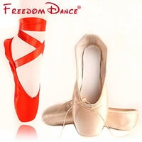 Discount Price Hot Sale Women's Ballet Pointe Dance Shoes Red Pink Satin Girls Professional Toe Dancing Shoes with Gel Toe Pad