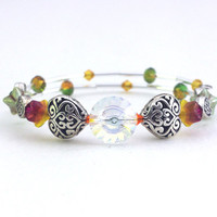 Red yellow green memory wire bracelet Clear orange Swarovski crystal Silver plated heart bead Czech glass wrap bangle Layer stack braclet