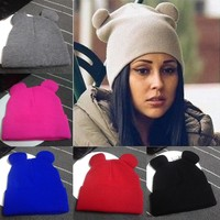 Fashion Women Winter Warm Knitted Hat Cat's Ears Women's Hat Knitted Caps Casual Female Beanies Hip-hop Skullies Solid Color Y1