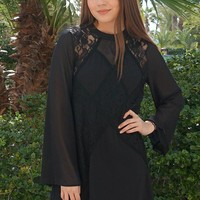 Unforgettable Evening Black Lace Silk Shift Dress