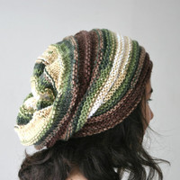 Striped Slouchy Knit Hat in Green and Brown - Multicolor Chunky Beanie - Oversize Beret - Fall Winter Fashion - Women Teens Accessories