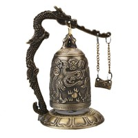 Lucky China Buddhism Temple Loong Brass Copper Carved Statue Lotus Buddha Copper Dragon Bell Alloy 9*9*12.5cm