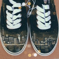 New York City Skyline Hand Painted Shoes NYC