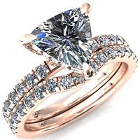Daneli Trillion Moissanite 3 Claw Prong Micro Pave Diamond Sides Engagement Ring
