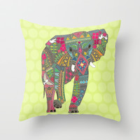 painted elephant chartreuse dot Throw Pillow by Sharon Turner