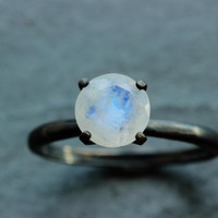 Extremely Fiery Moonstone Solitaire Engagement Ring in oxidized Sterling Custom Made to Order in Your Size