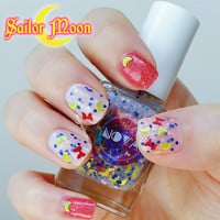SAILOR MOON by NOVA polish - Bow, Moon, Sailor Senshi, Glitter Topper, Nail Art, Anime, Kawaii, Sailor Soldiers, Cosplay, Nail Polish, White