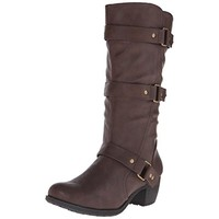 Easy Street Womens Barlow Faux Leather Mid-Calf Harness Boots