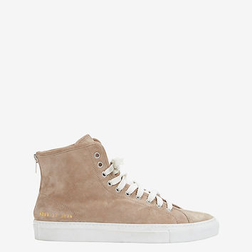Common Projects Lace-Up High Top Suede Sneaker: Grey | Shop IntermixOnline.com