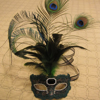 Black Mask with Hunter Green and Champagne Lace and Peacock Feathers