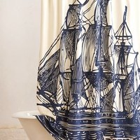 Elizabethan Sails Shower Curtain by Anthropologie in Navy Size: One Size Shower Curtains