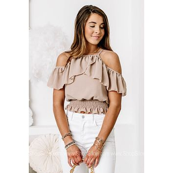 Counting The Stars Colds Shoulder Crop Top