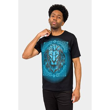 Paisley Print Embossed Lion T-Shirt