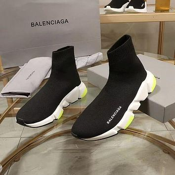 Balenciaga Speed Trainers Black With Tricolor Sole Sneakers-3