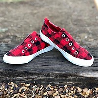Blowfish Play Sneakers in Red Buffalo Check