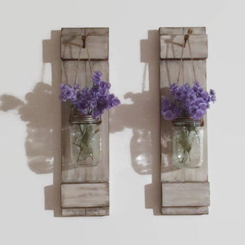 Mason Jar Sconces/Shabby Chic Home Decor/ Mason Jar/Wood Candle Holder/Country Decor/Cabin Decor