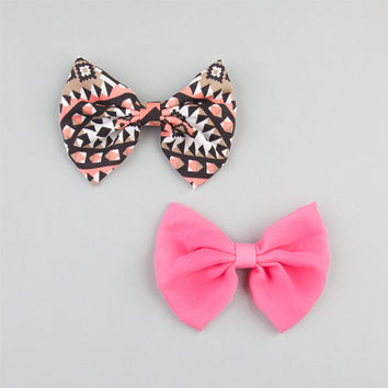 Full Tilt 2 Piece Chiffon Bow Hair Clips Black/Pink One Size For Women 24286917701