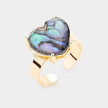 Abalone Heart Stone Adjustable Ring