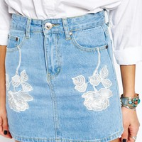 Liqiuor & Poker Denim Mini Skirt With Floral Embroidery